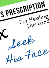 God's Prescription for Healing Our Land:  Seek His Face